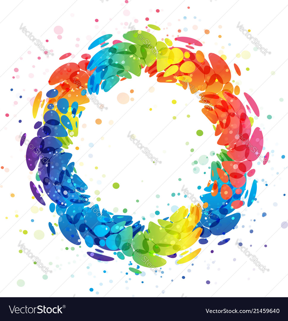 Splash rainbow circle on white background