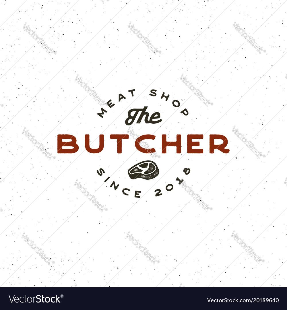 Vintage butchery logo retro styled meat shop
