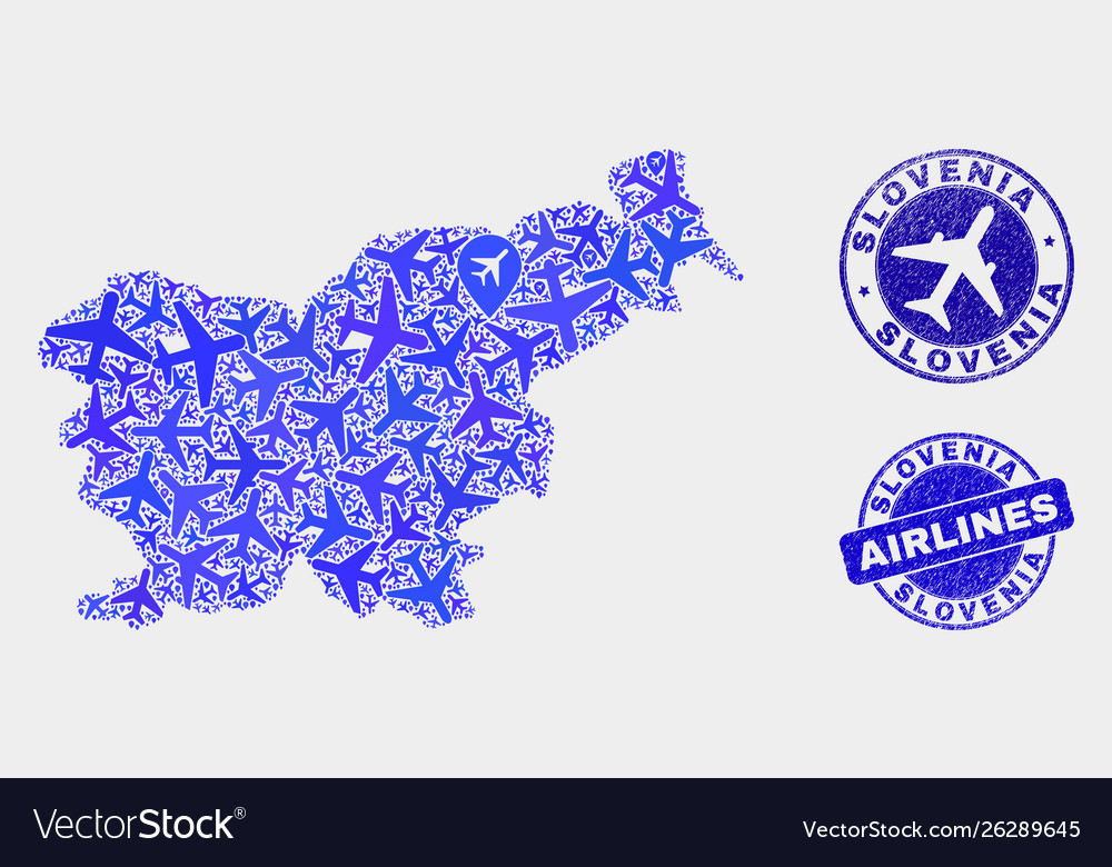 Airline mosaic slovenia map and grunge