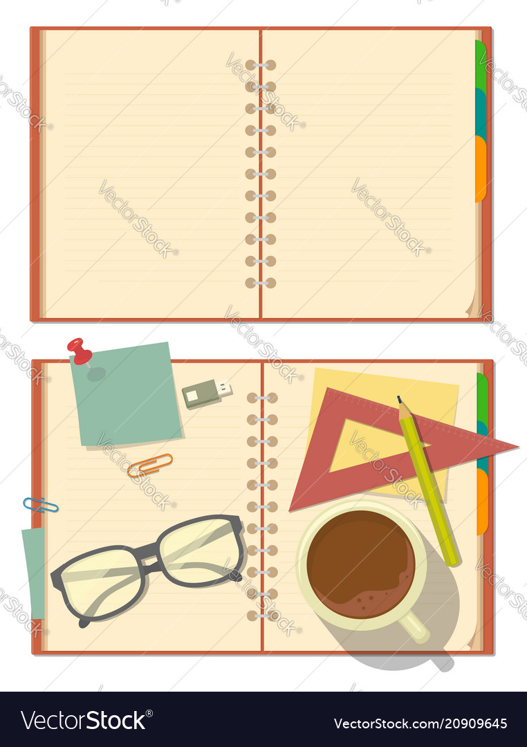 Blank opened notebook with glasses pencil paper