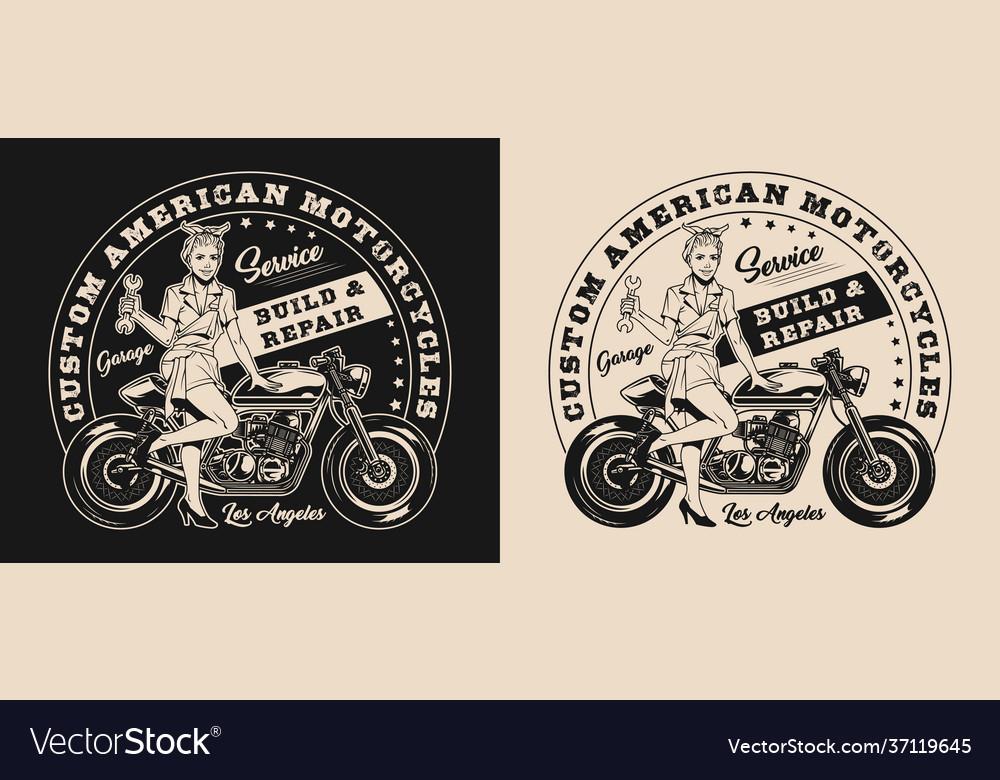 Custom Motorcycle Repair Service Logo