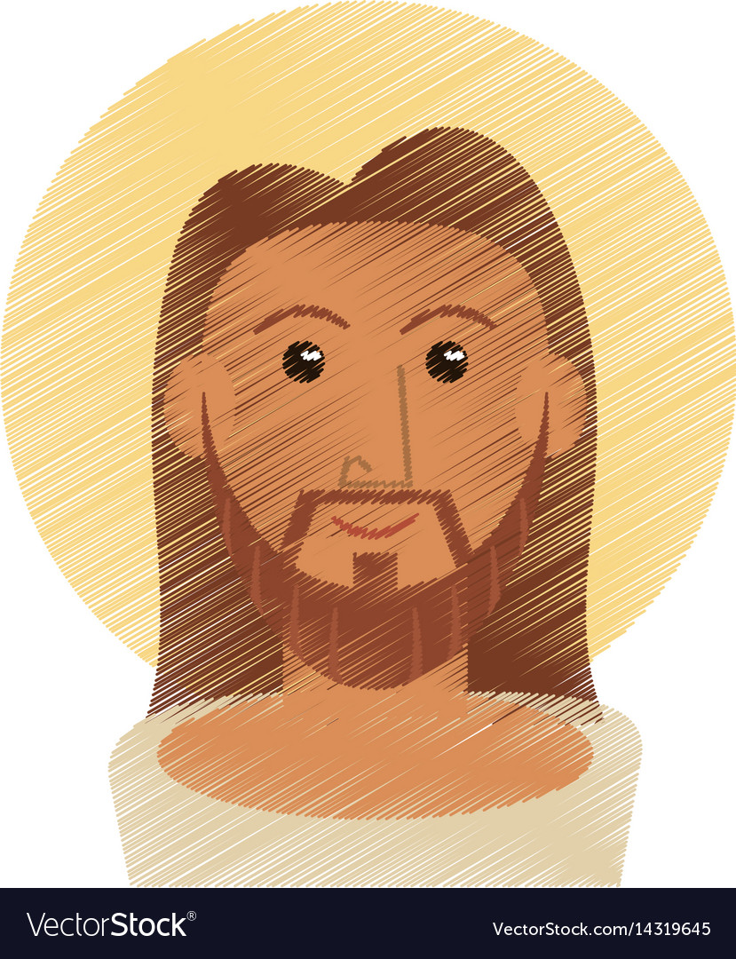 Drawing jesus christ portrait image vector image