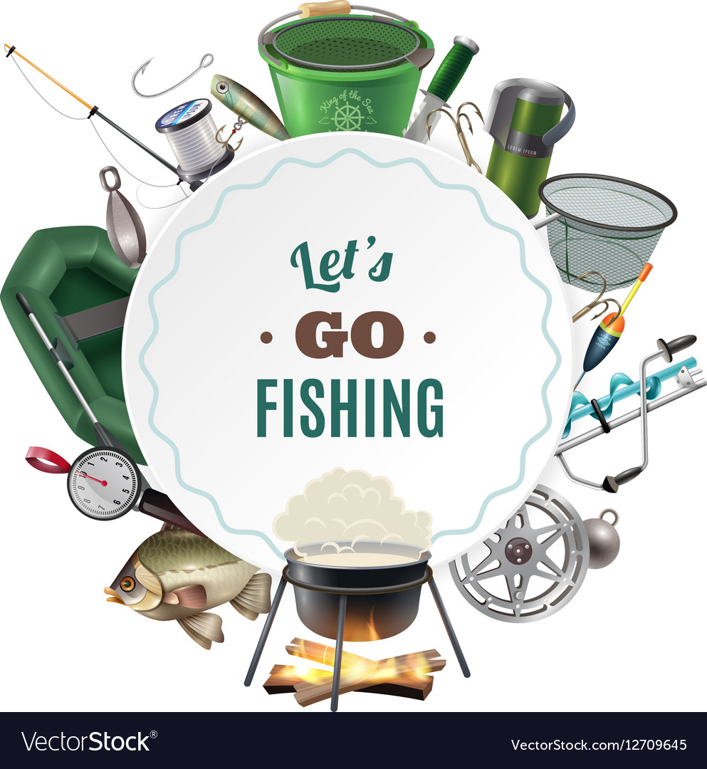 Freshwater Fishing Sport Round Frame Composition Vector Image