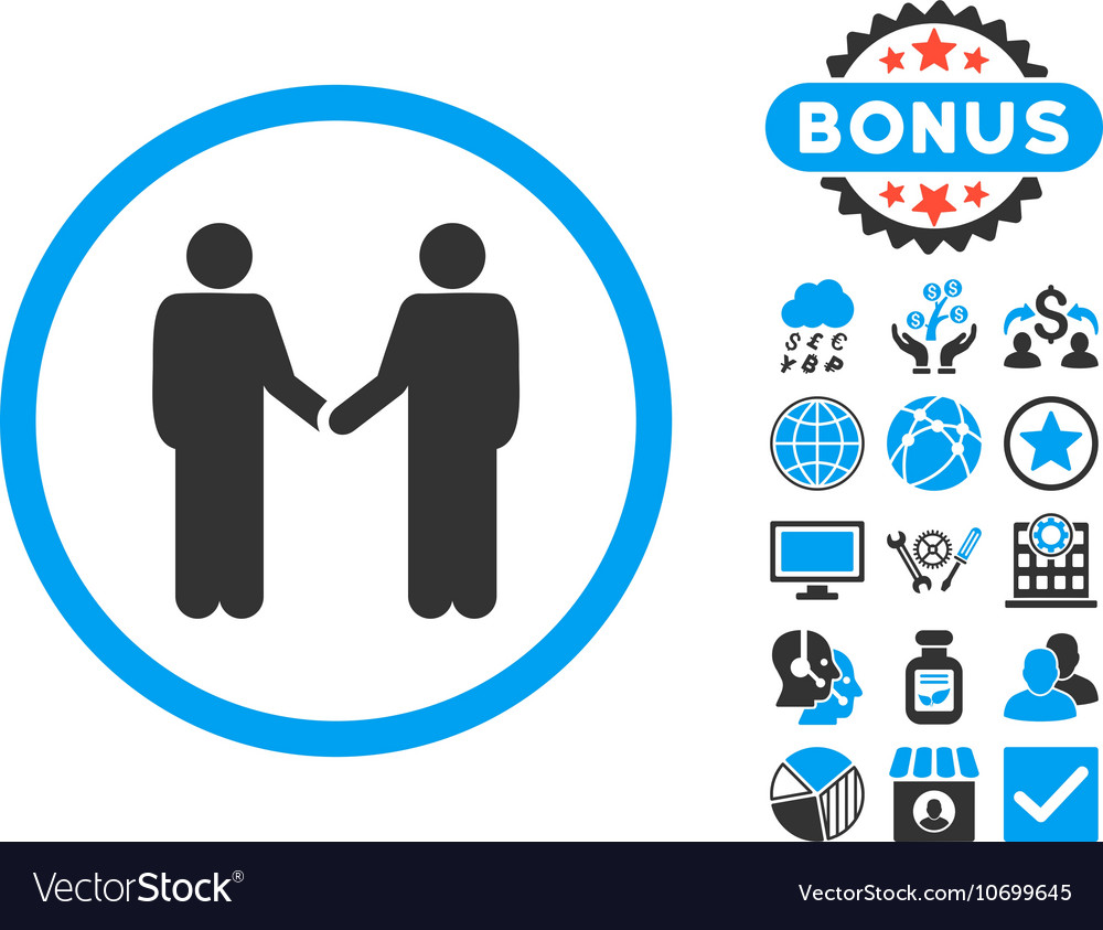 Handshake Flat Icon with Bonus