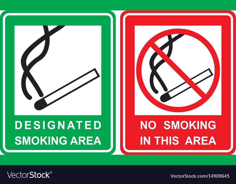 No smoking and smoking area sign set