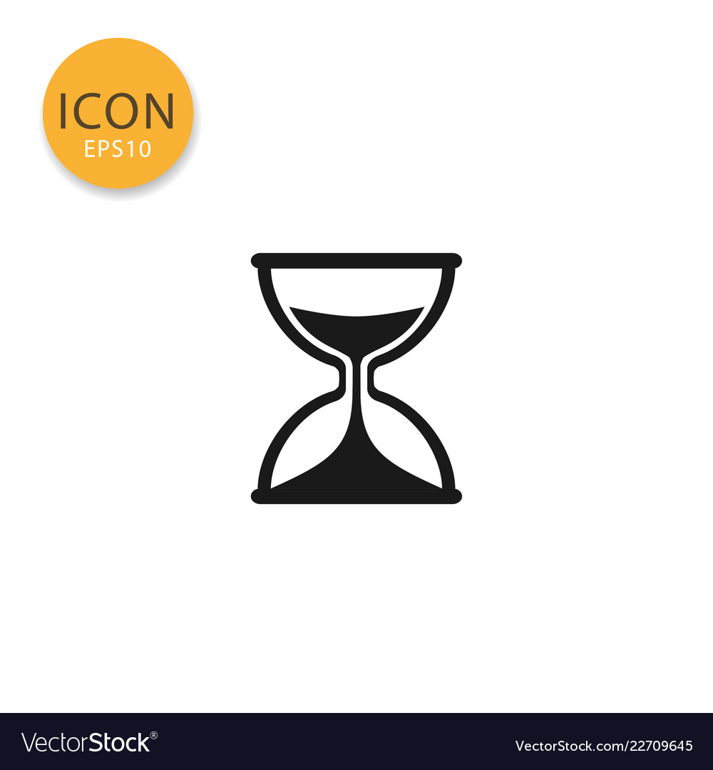 Sand clock or hourglass icon isolated flat style