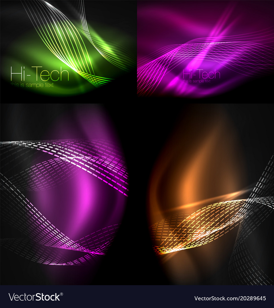 Set Of Multicolored Neon Smoke Particles Waves