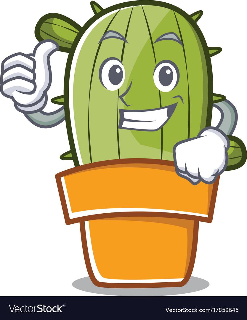 Thumbs up cute. Cactus character cartoon