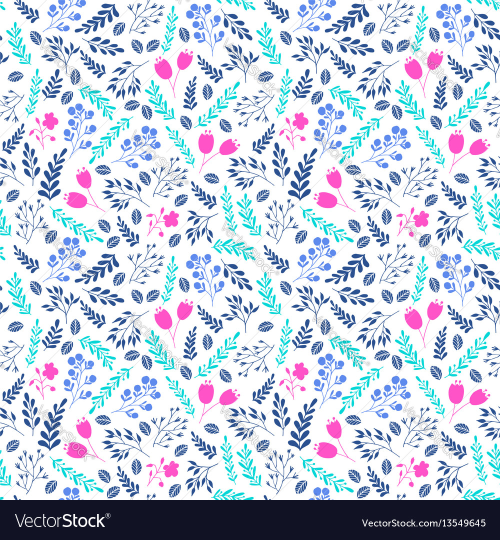Vibrant color floral seamless pattern with flowers