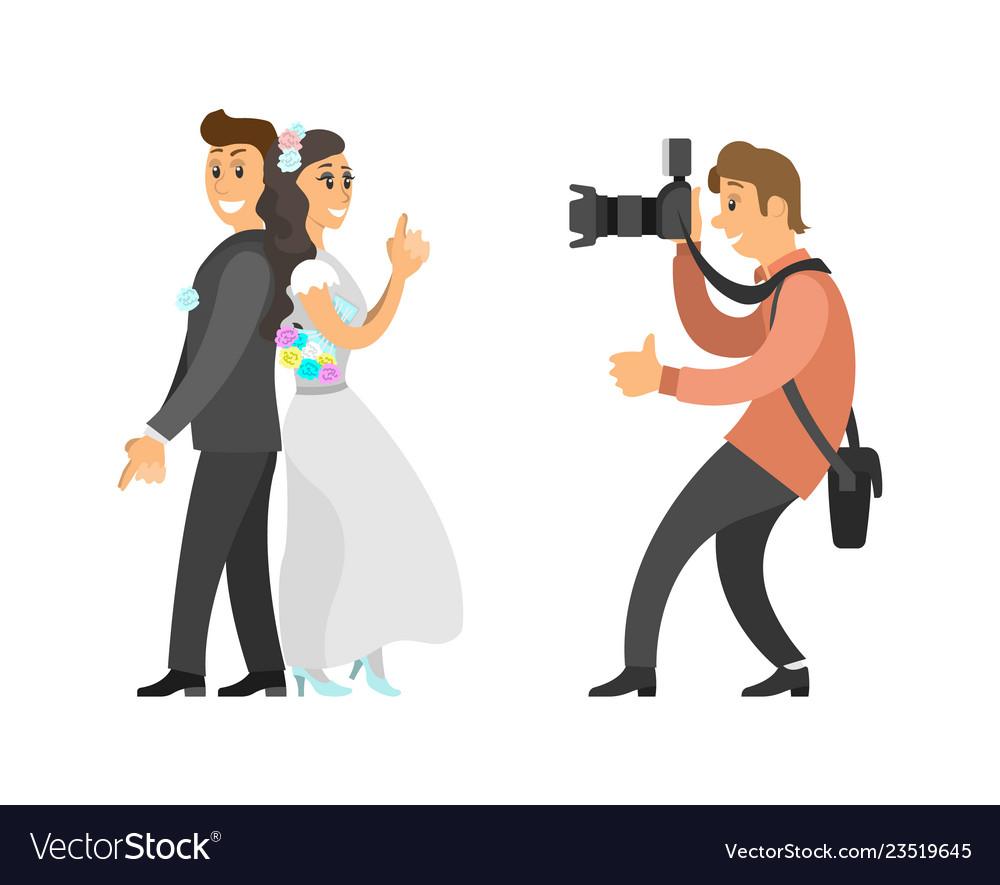 Wedding Photo Session Newlyweds Photographer Vector Image