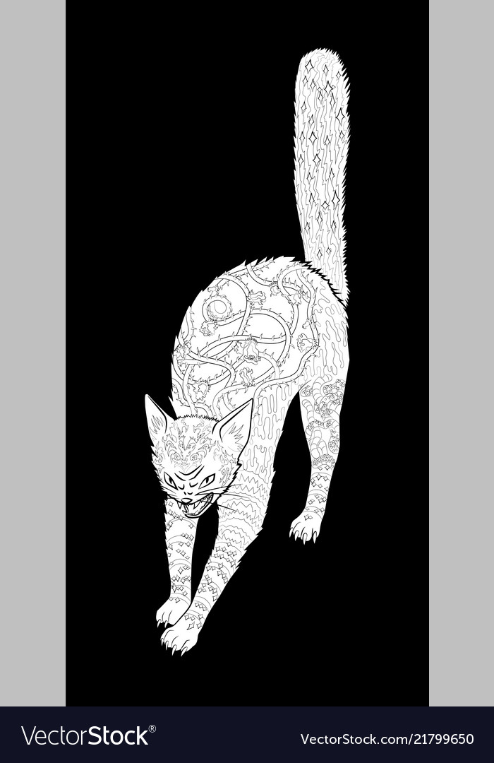 Antistress coloring page with halloween black cat
