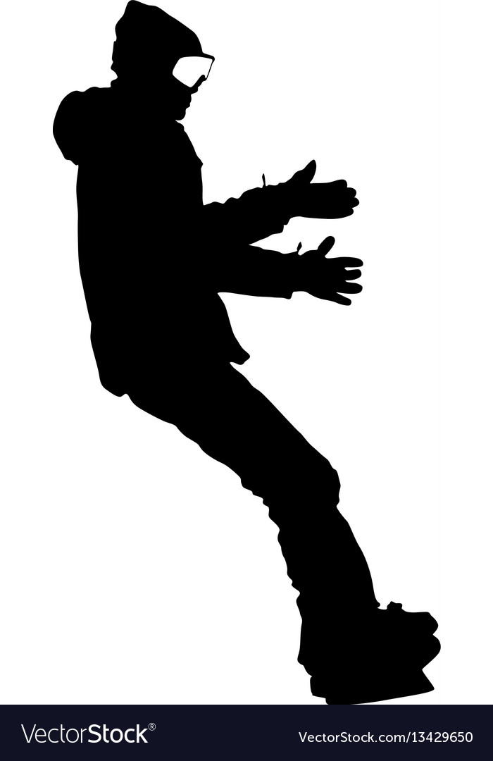 Black silhouettes snowboarders on white background