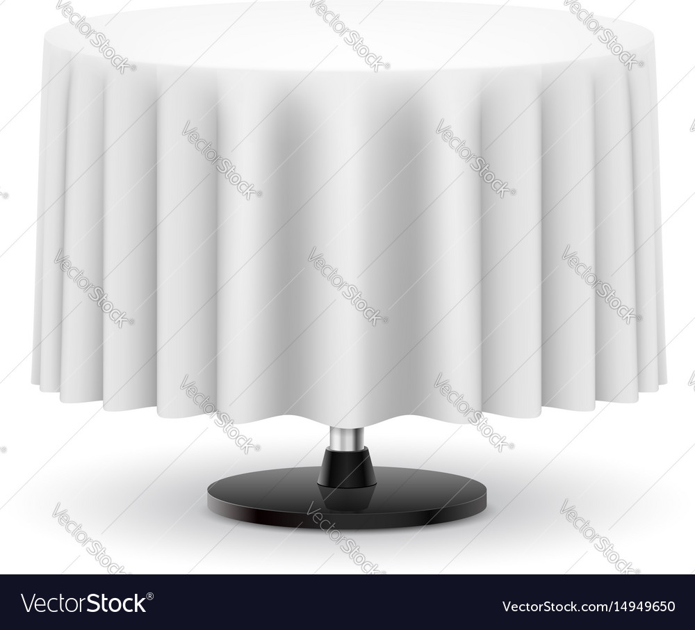 Classic round table with long white cloth vector image