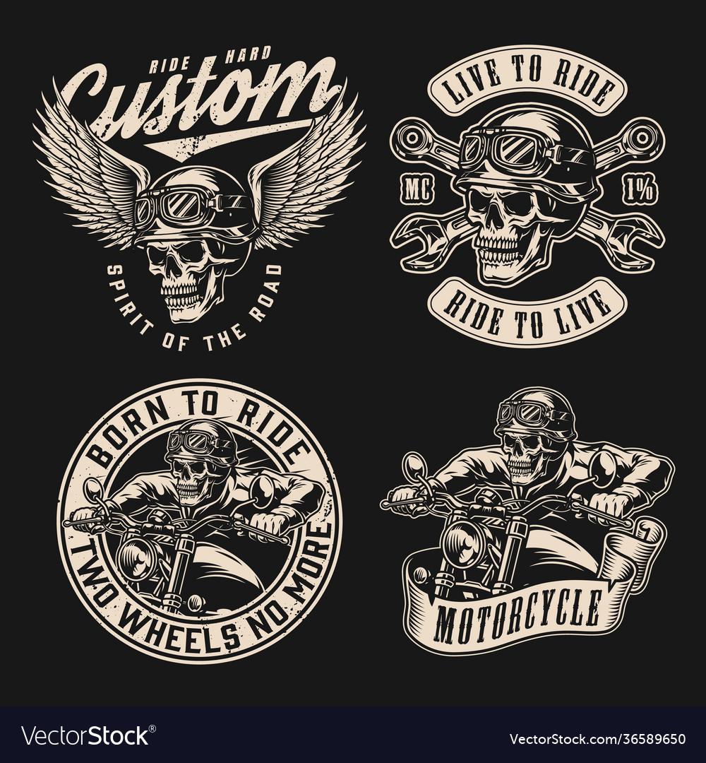 Custom motorcycle vintage monochrome labels