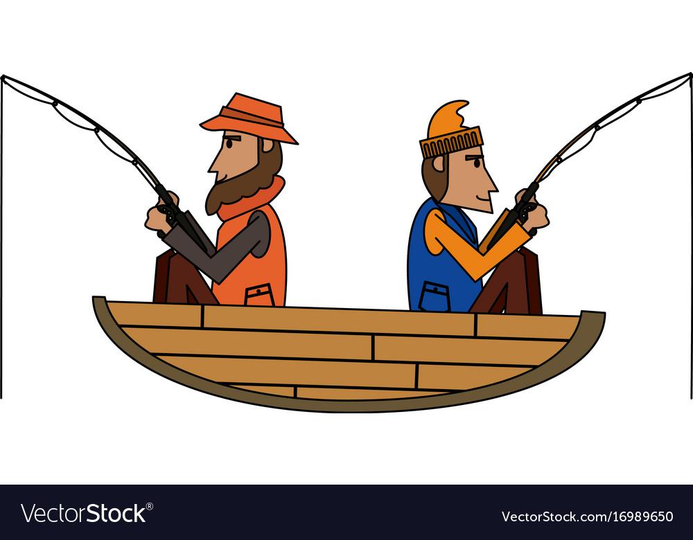 Fisherman on boat icon image vector image