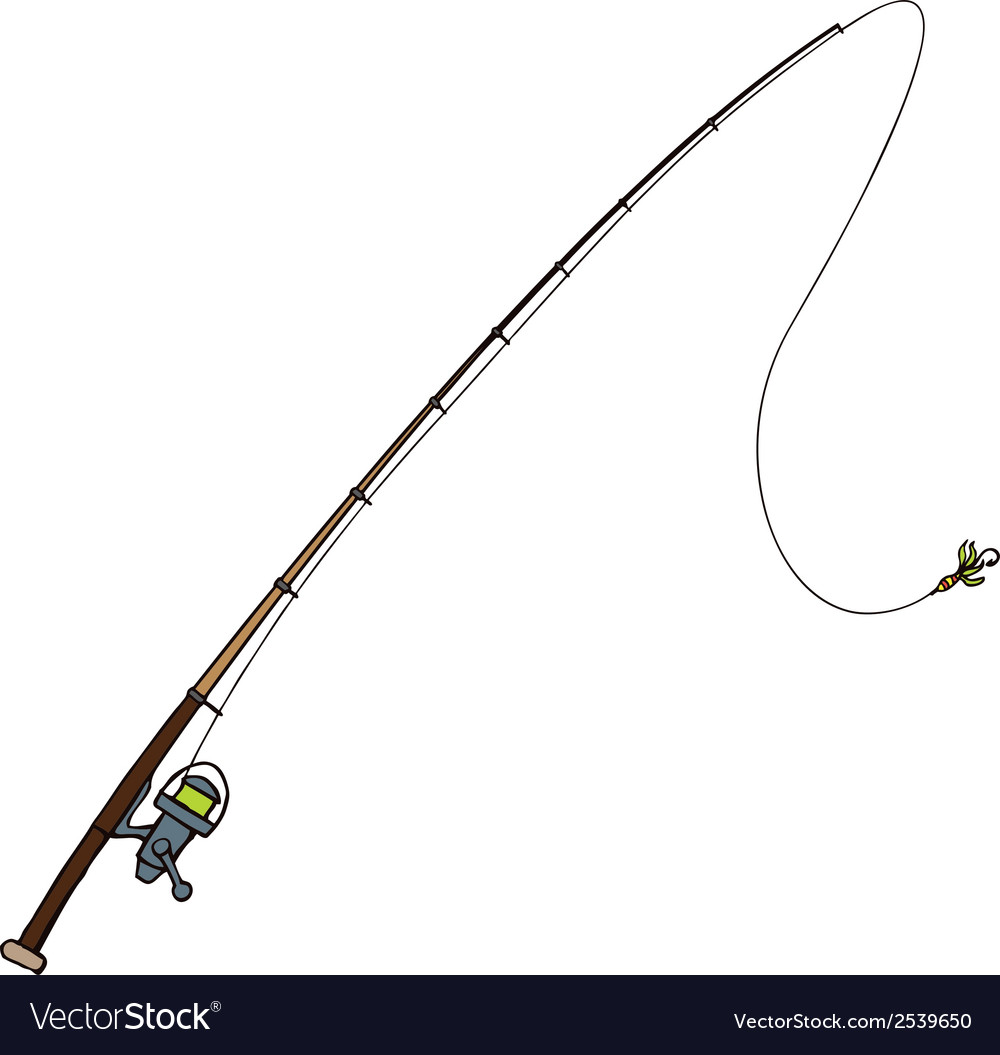 Fishing rod with fly bait Isolated on white vector image