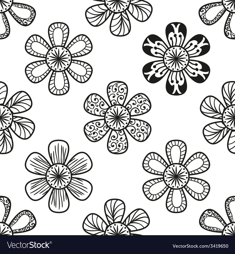 Floral doodling seamless pattern in tattoo style