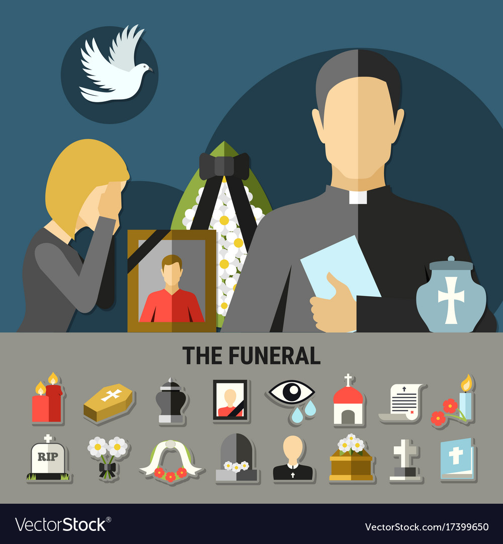 Funeral and mourning composition vector image