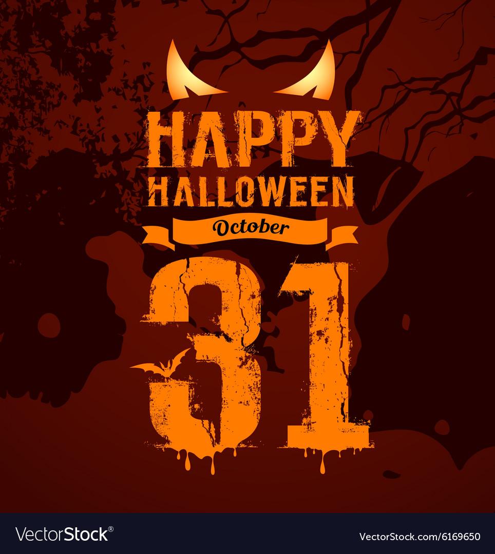 Happy halloween orange message and eyes