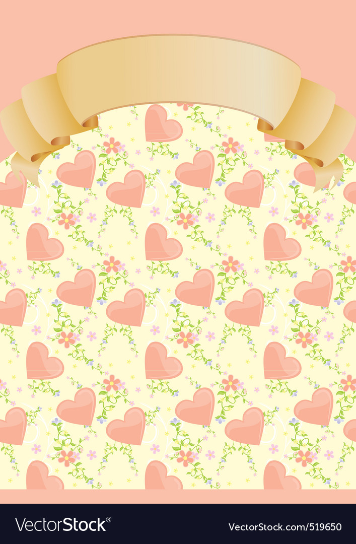 Hearts and flowers blank vector image