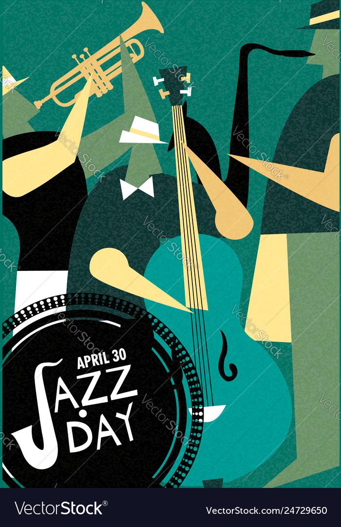 International jazz day retro poster of live music