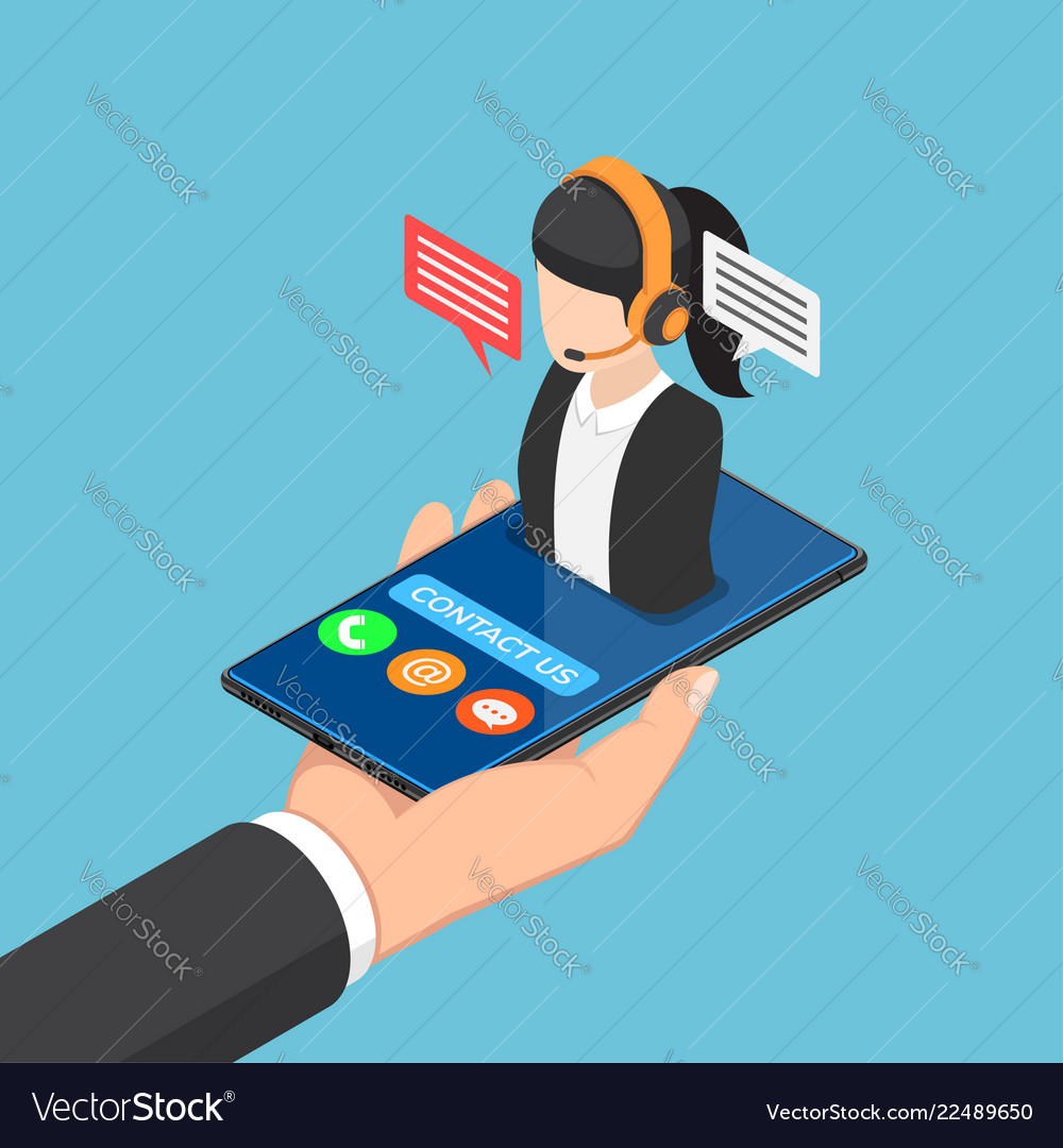 Isometric businessman hand holding smartphone