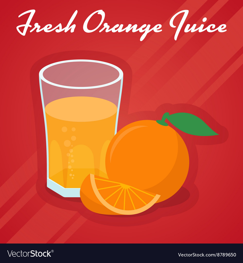 Juice in a glass and cuts sweet orange vector image