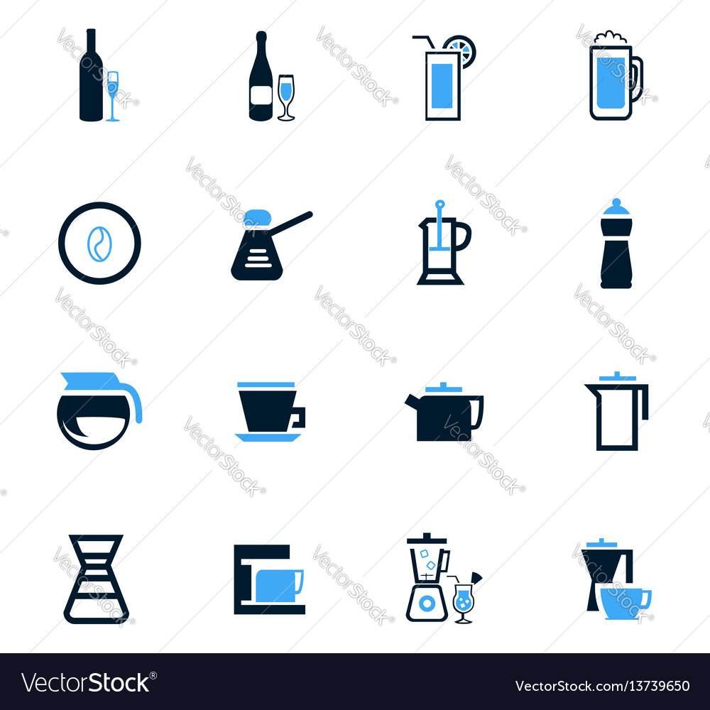 Utensils for beverages icons set