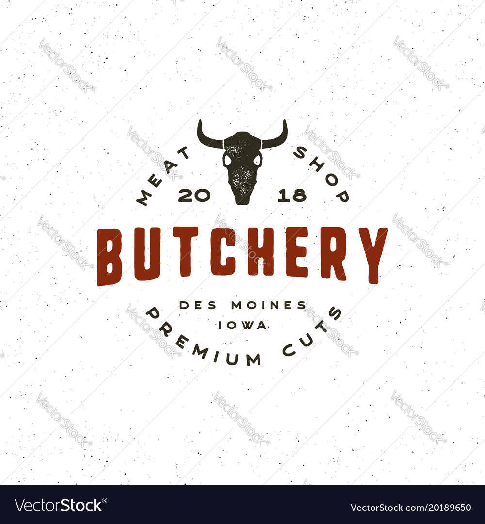 Vintage butchery logo retro styled meat shop
