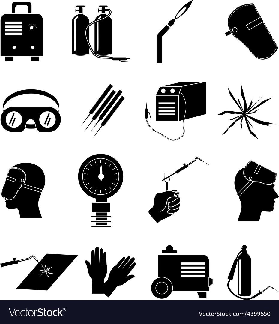 Welding work icons set vector image