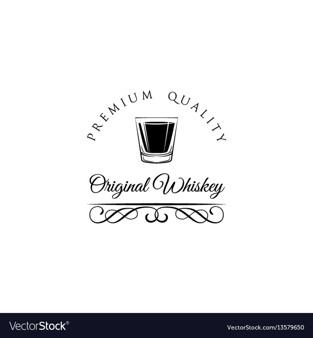 Whiskey shot glass alcohol badge and label