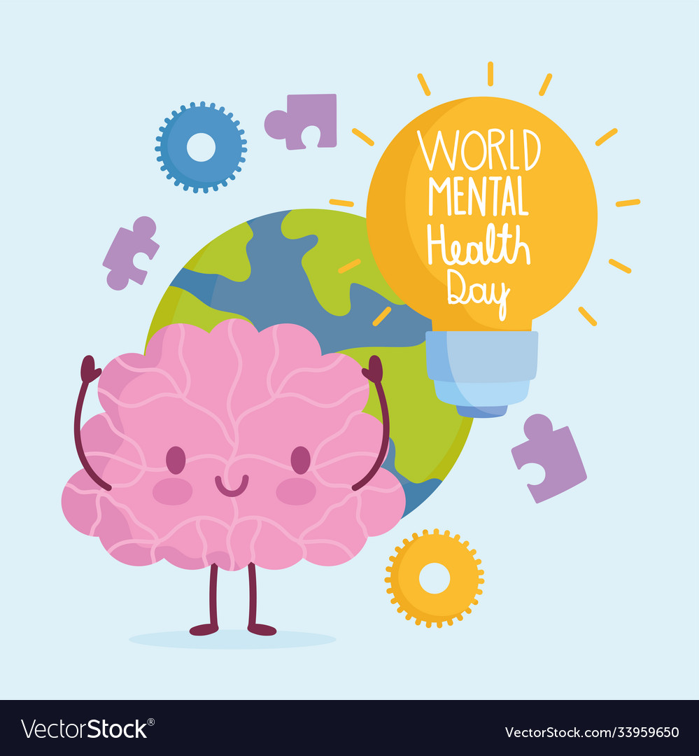 World mental health day cartoon brain planet