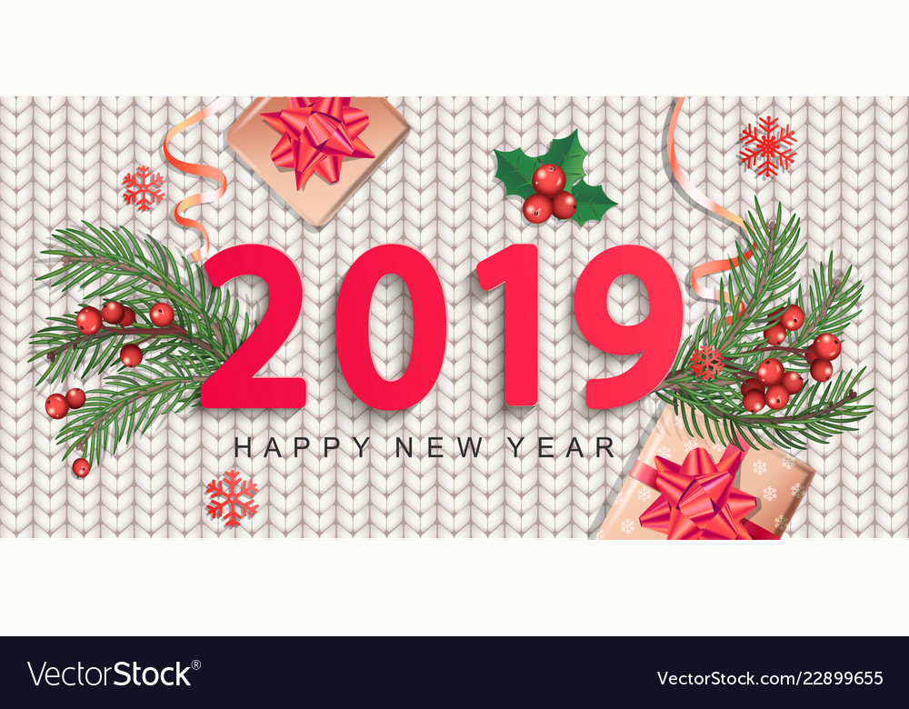2019 new year greeting card on knitted background