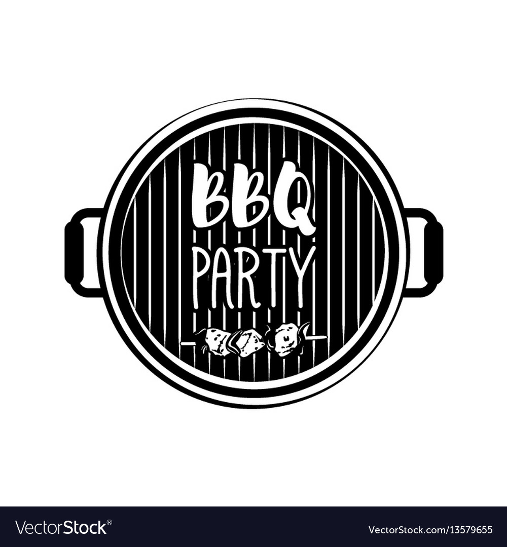 Bbq party banner grill badge isolated on white