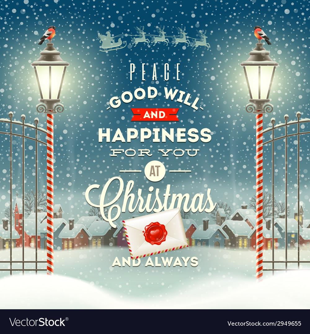 Christmas greeting type design with street lantern vector image