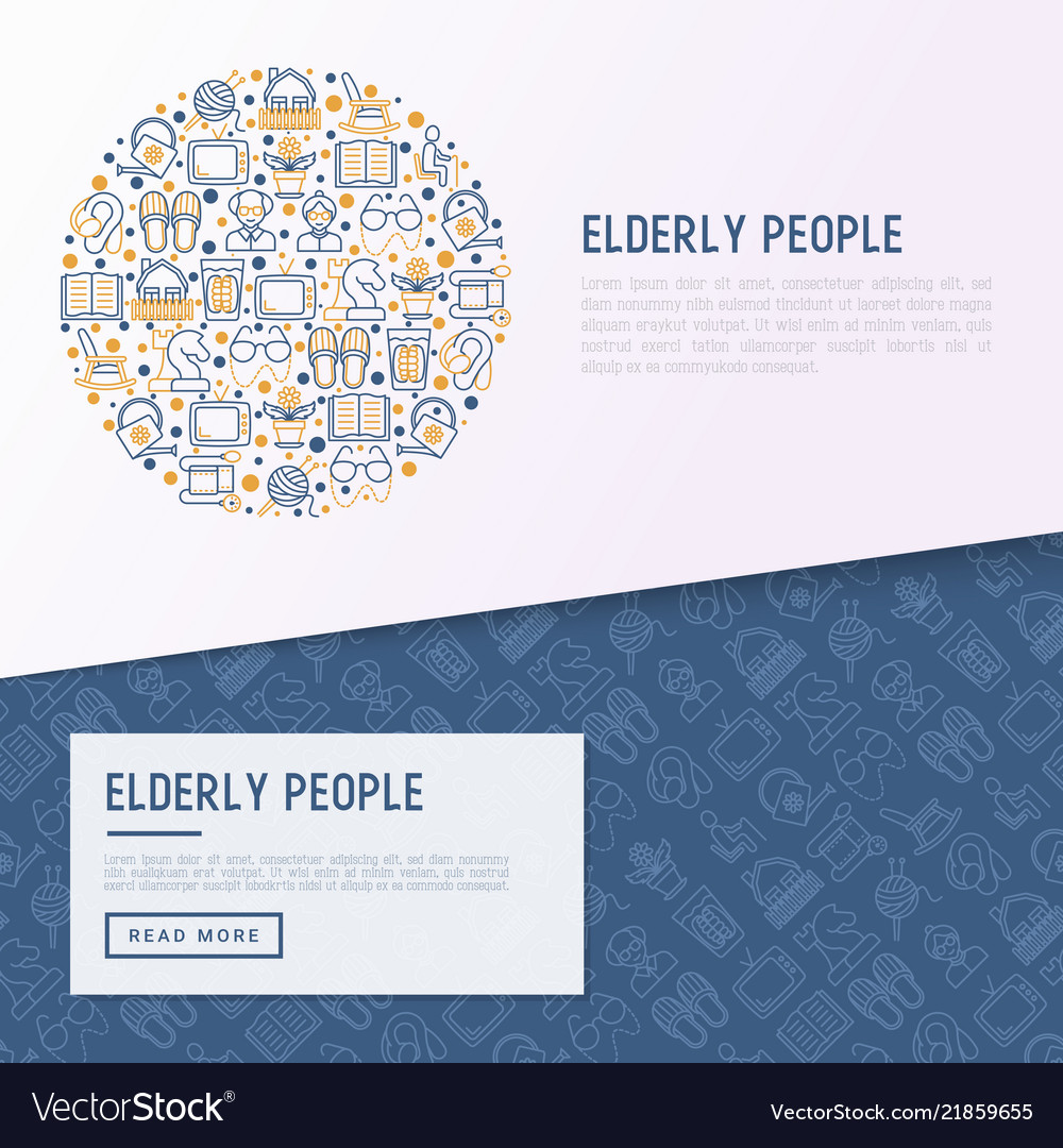 Elderly people concept in circle