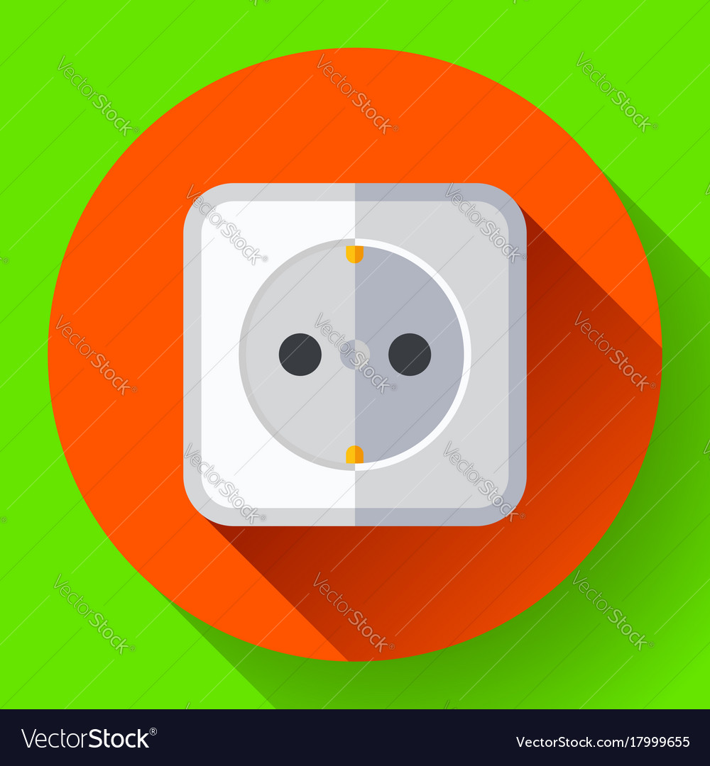 Electric white socket icon flat style