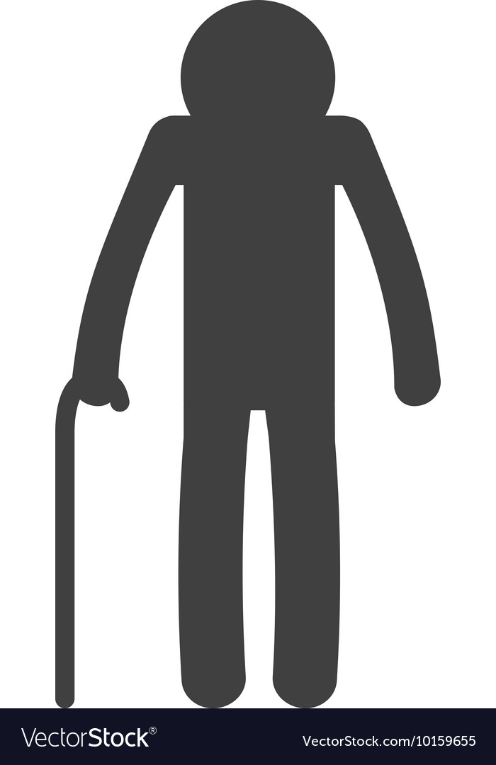 Old man pictogram silhouette icon graphic