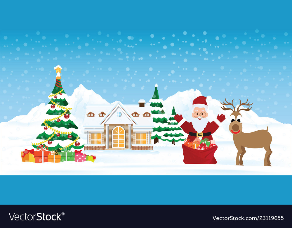 Santa claus with snowy christmas landscape