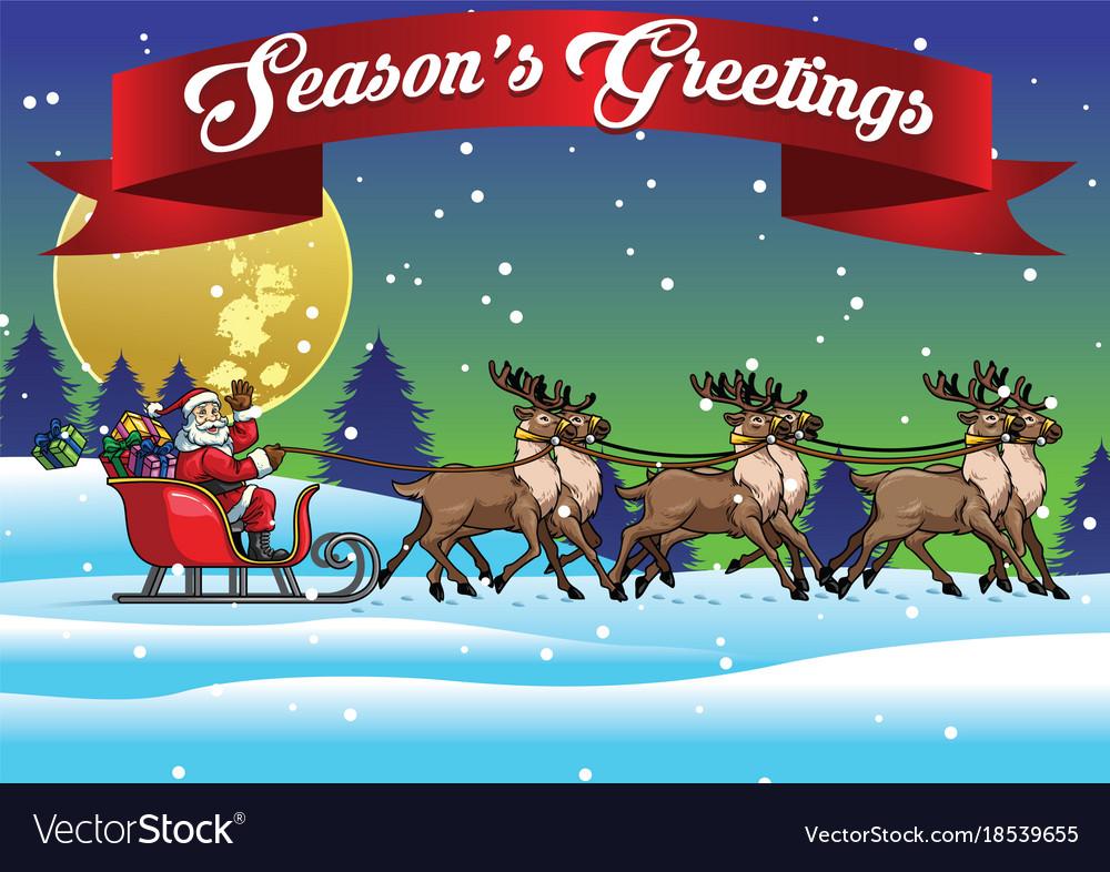 Santa ride sleigh with his reindeers
