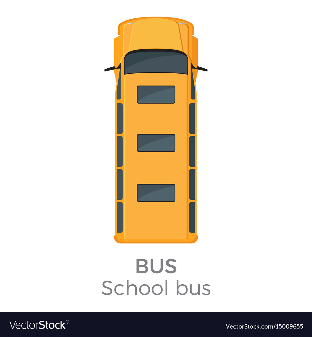 School bus icon top view flat