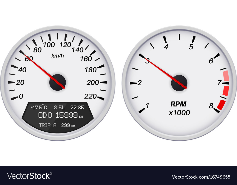 Speedometer and tachometer white gauge
