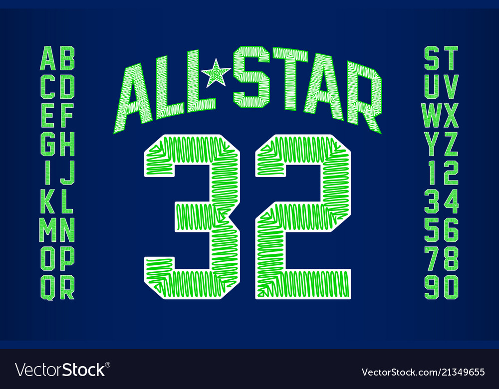 Sports uniform style font alphabet and numbers