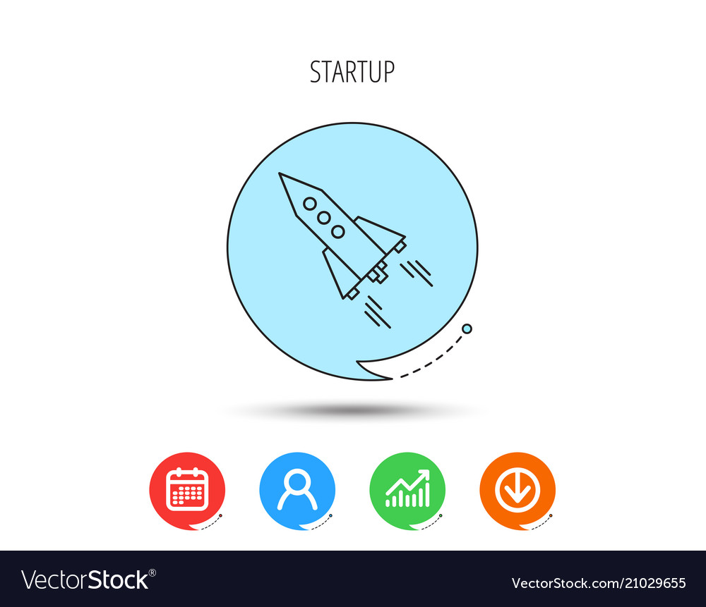Startup business icon rocket sign