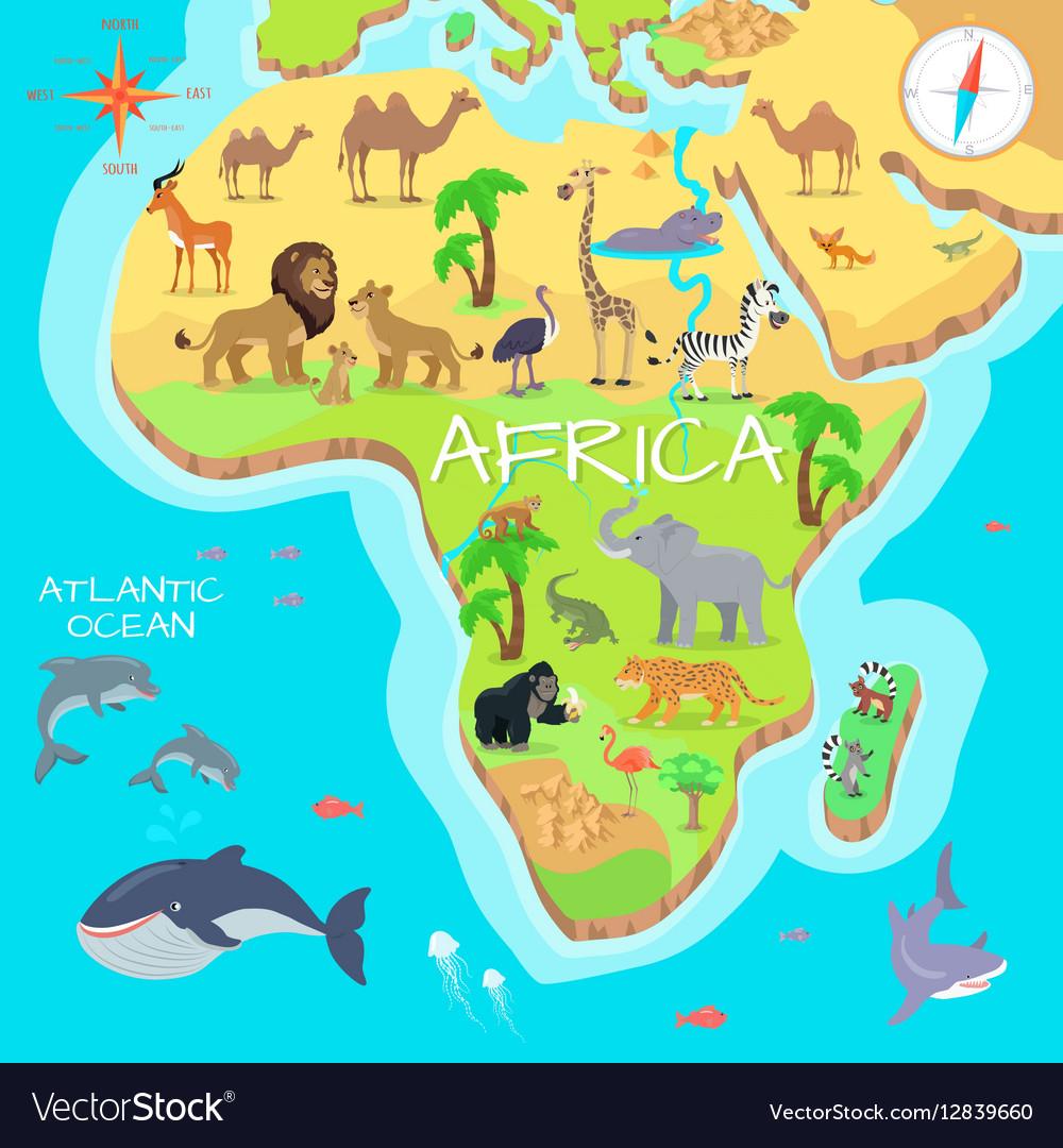 Africa Mainland Cartoon Map With Fauna Species Vector Image