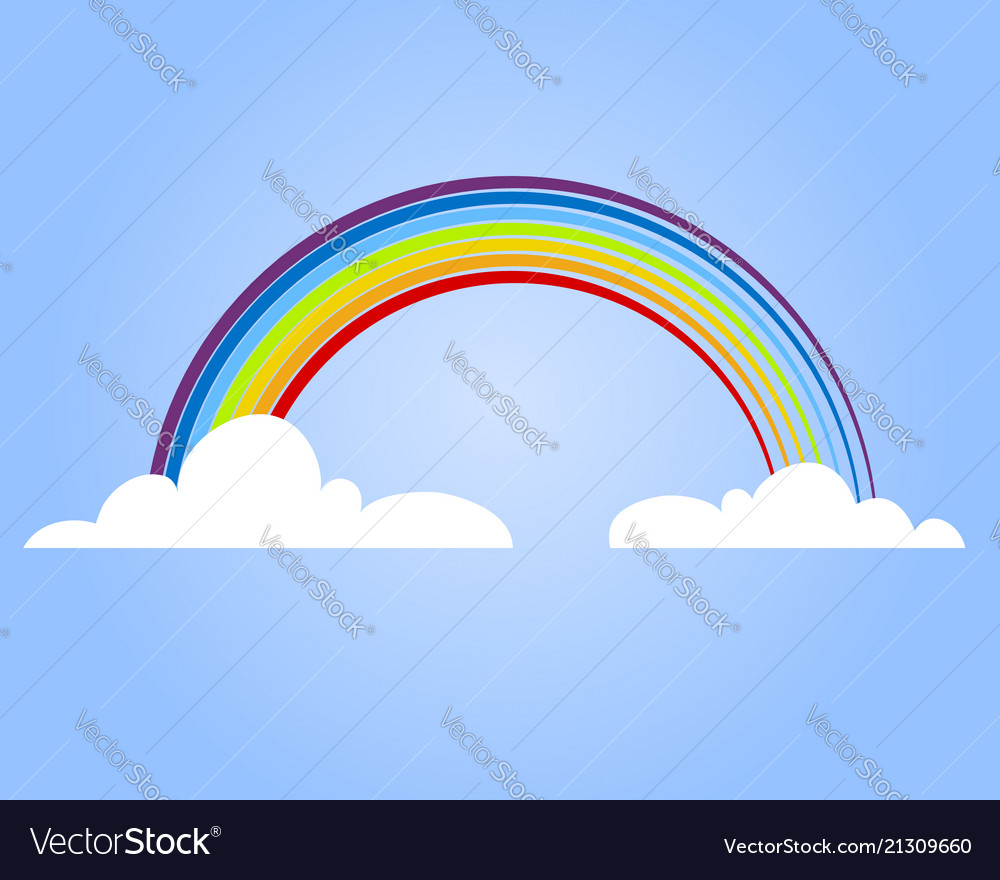 Colorful rainbow with cloud