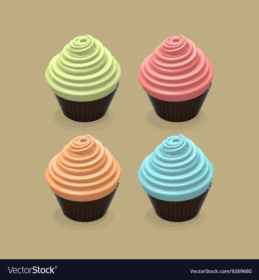 Food Of Cupcakes vector image