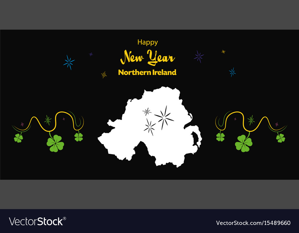 happy new year theme with map of northern ireland vector image