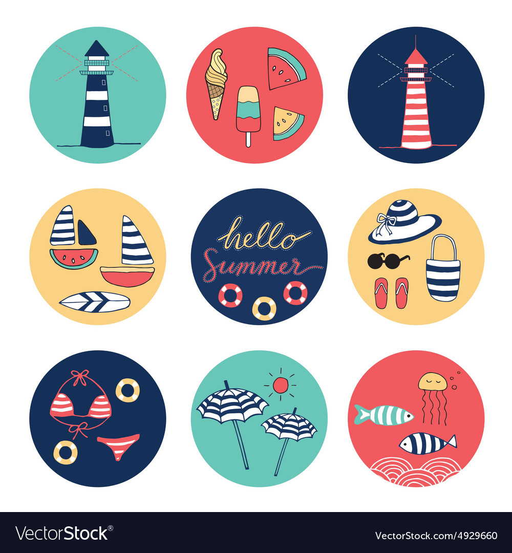 Hello summer icons circle colorful