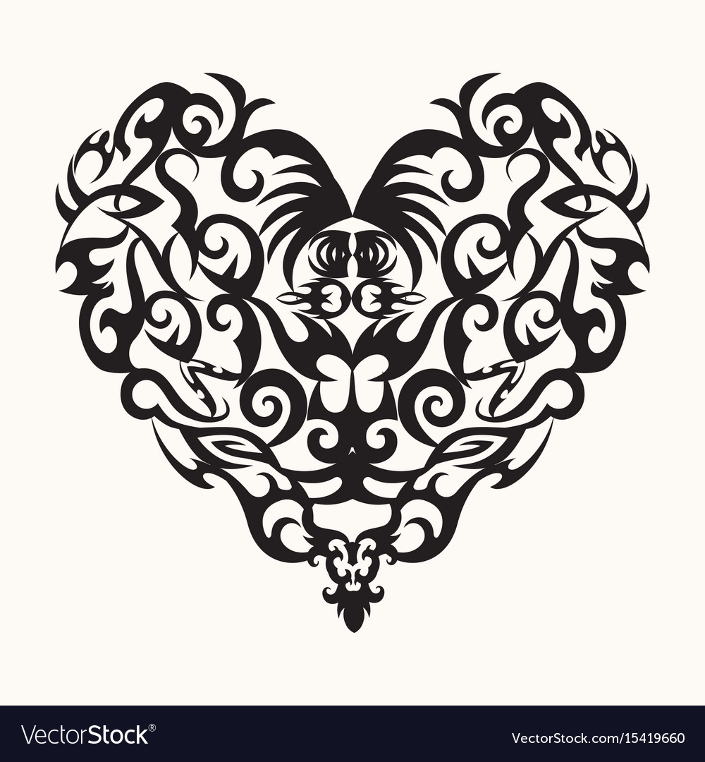 isolated black creative design heart tattoo vector image rh vectorstock com tattoo victoria bc tattoo victoria bc
